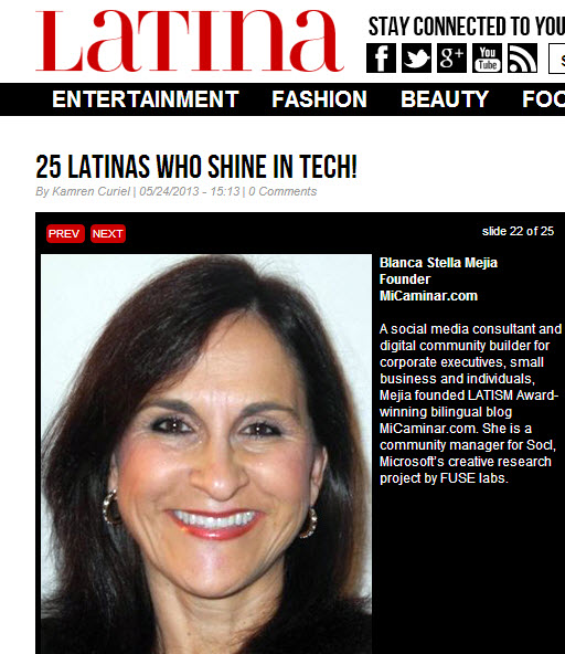 Latina women who shine technology Honored to Be on Latina Magazine Women Who Shine Tech List